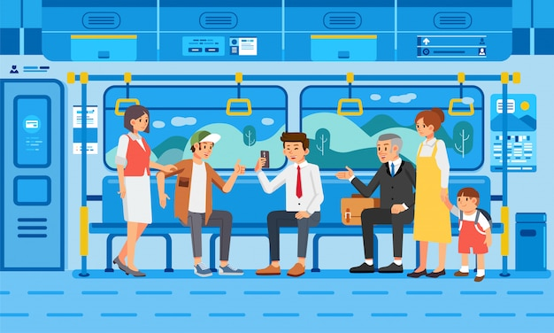 Many people on train with their activities illustration