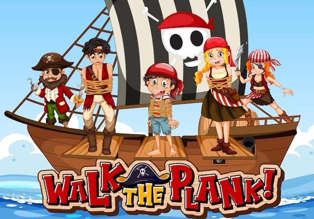 Molti personaggi dei cartoni animati dei pirati sulla nave con il banner del carattere della plancia a piedi