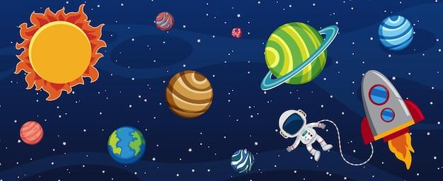 Множество планет в галактике с космонавтом и ракетным кораблем