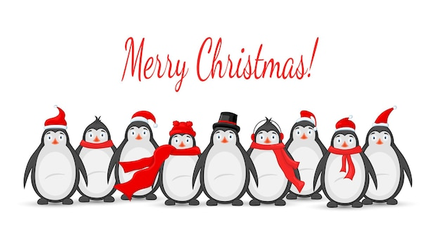 Многие полярные пингвины в зимних наушниках, кепке, шапке и шарфе. открытка на новый год и рождество. изолированные объекты на белом фоне. шаблон для текста и поздравлений.