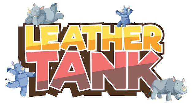 Molti personaggi dei cartoni animati di rinoceronti con banner di carattere serbatoio in pelle isolato