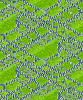 Many road junctions on grass background, isometric seamless pattern