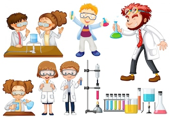 Many scientists and students doing experiments