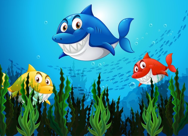 수중 배경에서 많은 상어 만화 캐릭터