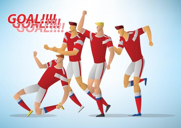 Many soccer players are celebrating the joy of scoring