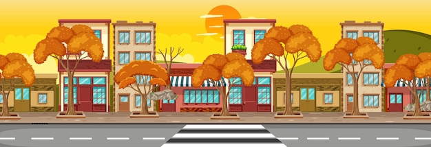 Многие здания магазинов вдоль улицы горизонтальной сцены во время заката