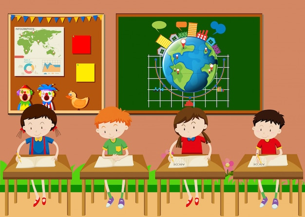 Many students learning in classroom