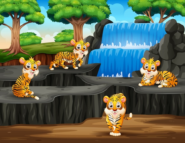 Many tigers cartoon on waterfall