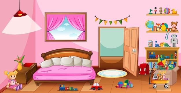 ピンクの寝室のシーンでたくさんのおもちゃ
