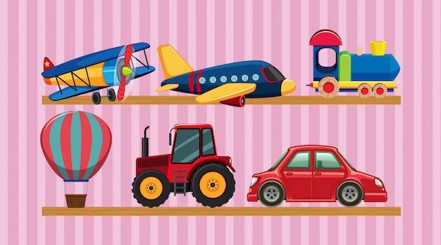 Many transportation toys on wooden shelves