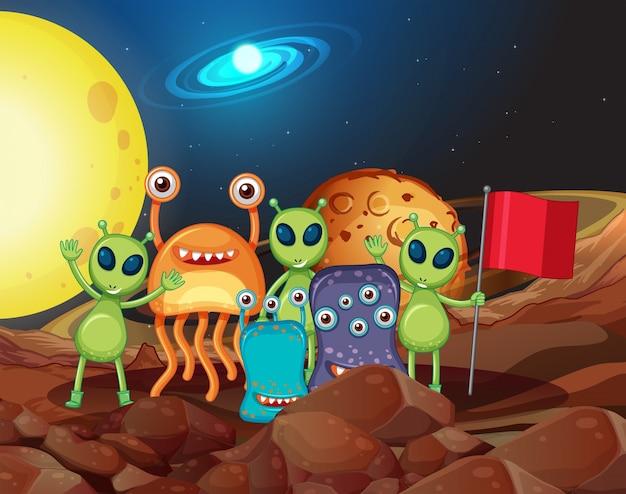 月の多くの種類の宇宙人