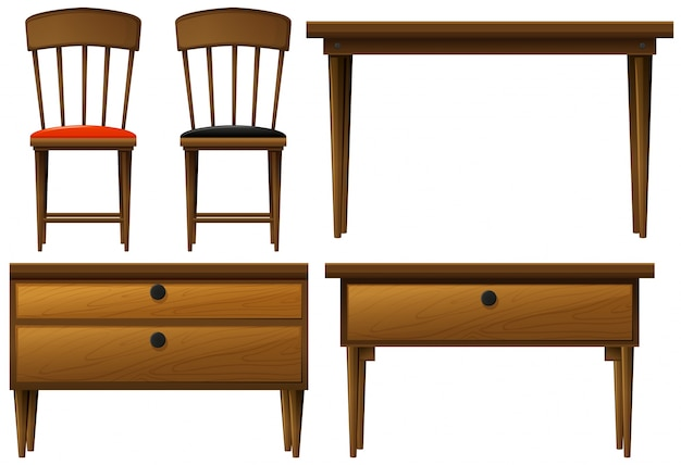 Many types of wooden furnitures illustration