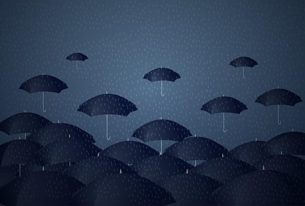 Many umbrellas under rain storm business problem