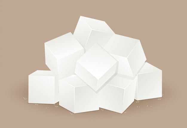 Many white sugar cube