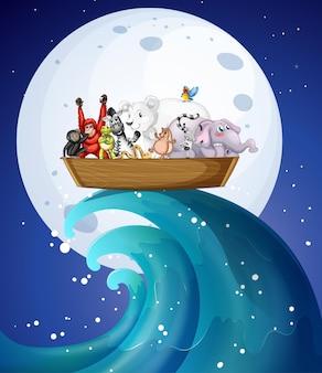 Many wild animals on boat at night