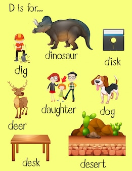 Many words for letter d