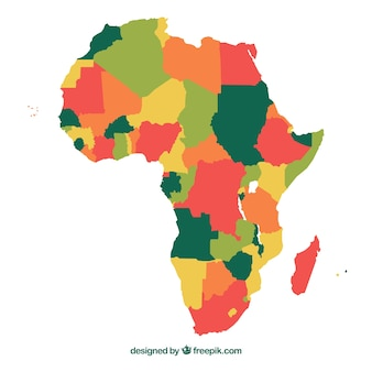 Map of africa continent with different colors