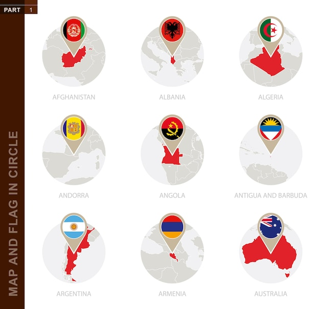 9カ国の円の地図と旗。