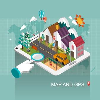 3dアイソメトリックフラットデザインの地図とgpsの概念