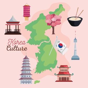 地図と韓国のアイコン