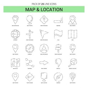 Набор иконок линии карты и местоположения - 25 пунктирный стиль