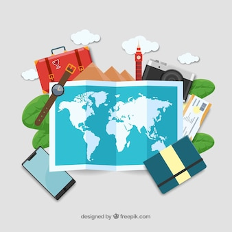 평면 디자인의지도 및 여행 요소