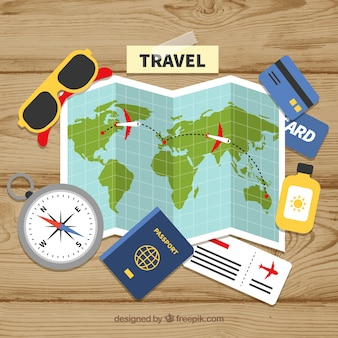 平らなデザインの地図と旅行の要素