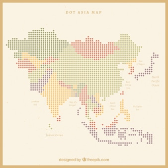 Map of asia with dots of colors