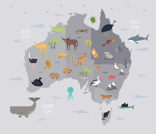 Map of australia with cute cartoon animals living on it. funny cartoon mammals, reptiles, birds inhabiting australian continent. colorful vector illustration in flat style for educational poster.
