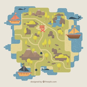 Map background and pirate ships in flat design
