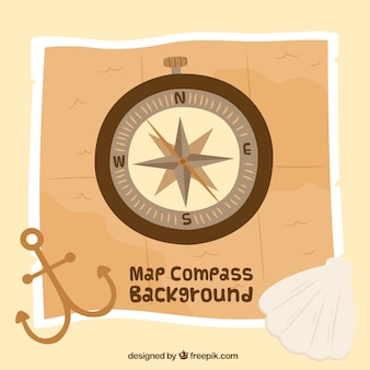 Map compass background with anchore