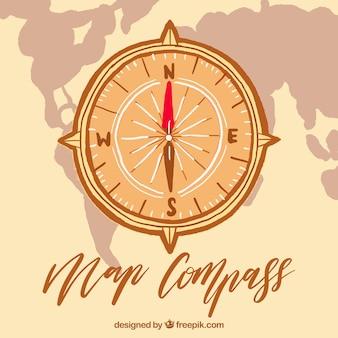 Mappa della bussola con la mappa del mondo