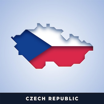 Map of czech republic with flag