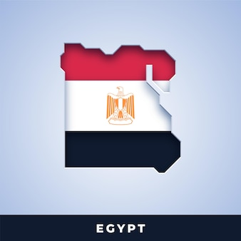 Map of egypt with flag