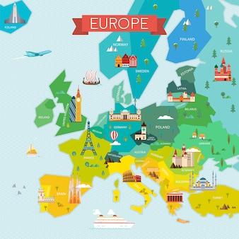 Map of europe illustration
