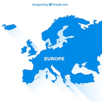 Mappa dell'europa con i colori in stile piatto