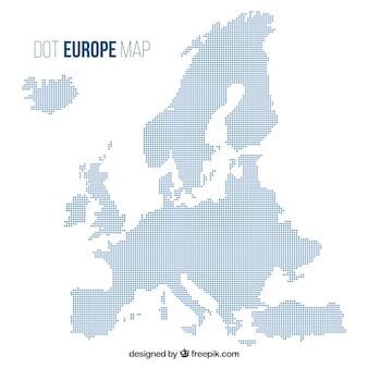 Map of europe with dots in flat style