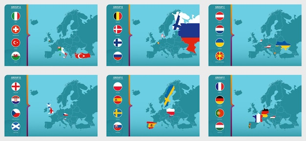 Map of europe with marked maps of countries participating in the european football tournament 2020