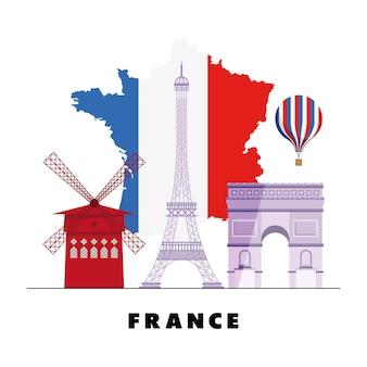 フランスとランドマークの地図