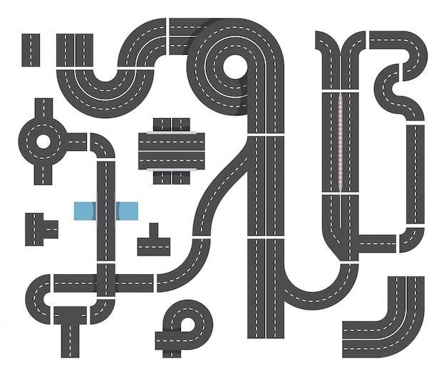 Карта из разных фрагментов городской дороги. дорожное движение, пересекающиеся и легковые автомобили. набор векторных вид сверху
