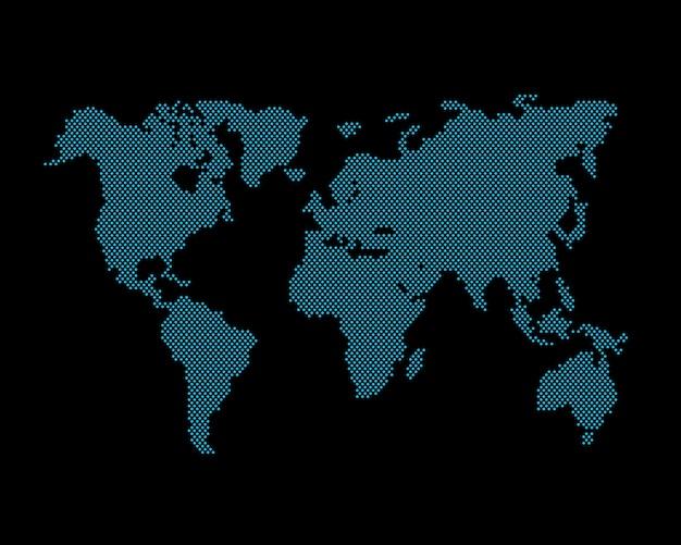 Карта глобальная планета земля точка черный фон