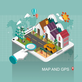 Map and gps concept in 3d isometric flat design