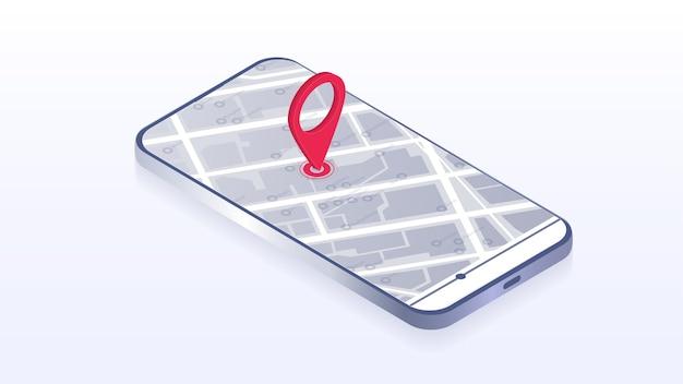 マップgpsナビゲーションスマートフォンマップアプリケーションと画面上の赤いピンポイントアプリ検索マップナビゲーションラインマップの背景に分離等尺性ベクトル