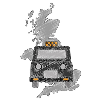 Map great britain with classic taxi
