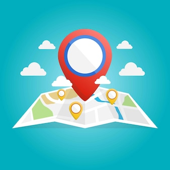 Map icon isometric with destination location pin pointer illustration