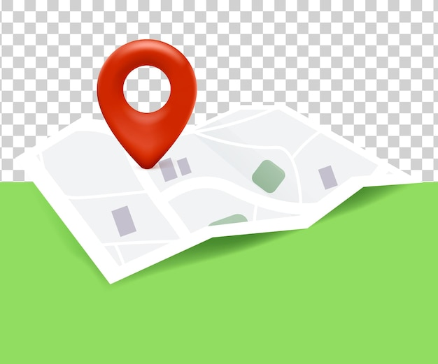 Map icon location with map and pin location 3d on white transparent background