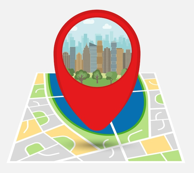Map of an imaginary city with point on the map with skyscrapers and park. vector illustration.