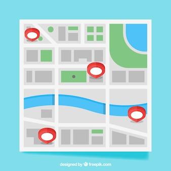 핀 맵이있는 도시 디자인지도