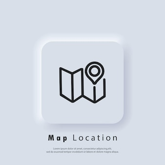 Map location icon. map pin. route location. cartography icon. vector eps 10. ui icon. neumorphic ui ux white user interface web button. neumorphism