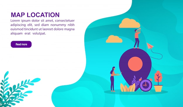 Map location illustration concept with character. landing page template